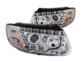 For 2007-2012 Hyundai Santa Fe Chrome Projector Headlights+6LED DRL