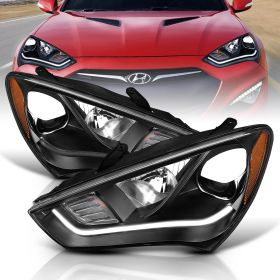 HYUNDAI GENESIS 13-14 2DR PROJECTOR PLANK STYLE H.L. BLACK CLEAR AMBER