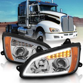 Kenworth T660 08 UP  PROJECTOR PLANK STYLE H.L CHROME AMBER REFLECTOR