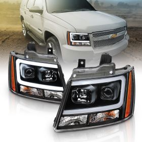 AmeriLite 2007-2013 Super Bright LED Bar Projector Black Headlights Pair For Chevy Avalanche Suburban Tahoe - Passenger and Driver Side