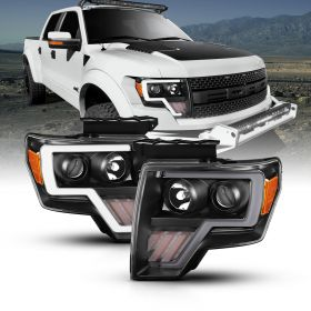 FORD F-150 09-13 PROJECTOR PLANK STYLE G2 H.L. BLACK AMBER