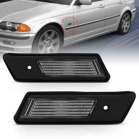 AmeriLite for 1992-1996 BMW E36 3-Series 318/328/325/323 Black Side Marker Fender Lights Pair - Driver and Passenger Side