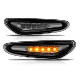 AmeriLite for BMW 3 Series E34 E39 E46 E60 X3 Smoke LED Replcacement Front Fender Side Marker Light Assembly Set - Driver and Passenger Side