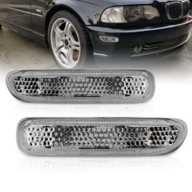 AmeriLite for 1999-2001 BMW 3-Series E46 325 328 330 Smoke Replacement Side Marker Light Set - Driver and Passenger Side