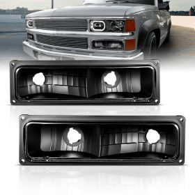 AmeriLite Replacement Parking Turn Signal Lights Black Pair For 88-98 Chevy Full Size - Passenger and Driver Side