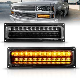 AmeriLite Black Parking Lights For Full Size/Blazer/Suburban : Sierra/Yukon - Passenger and Driver Side
