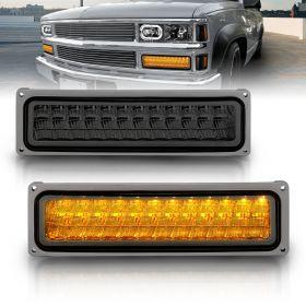 AmeriLite Smoke LED Parking Turn Signal Lights Set For Full Size/Blazer/Suburban : Sierra/Yukon - Passenger and Driver Side
