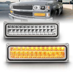AmeriLite Chrome LED Parking Turn Signal Lights For Full Size/Blazer/Suburban : Sierra/Yukon - Passenger and Driver Side
