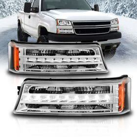 AmeriLite Chrome LED Parking Lights Replacement Set For Chevy Silverado Avalanche - Passenger and Driver Side
