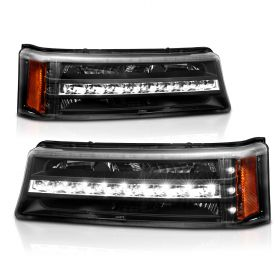 AmeriLite Black LED Parking Lights Replacement Set For Chevy Silverado Avalanche - Passenger and Driver Side