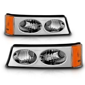 AmeriLite Chrome Replacement Bumper Parking Turn Signal Lights Set For 03-06 Chevy Silverado - Passenger and Driver Side