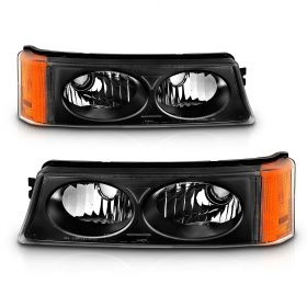 AmeriLite Black Replacement Bumper Parking Turn Signal Lights Set For 03-06 Chevy Silverado - Passenger and Driver Side