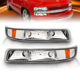 AmeriLite Replacement Bumper Turn Signal Lights Clear Amber For Chevy Silverado Suburban Tahoe - Passenger and Driver Side