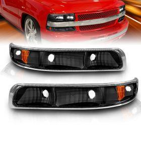AmeriLite Bumper Parking Turn Signal Lights Black Set For Chevy Silverado Suburban Tahoe - Passenger and Driver Side