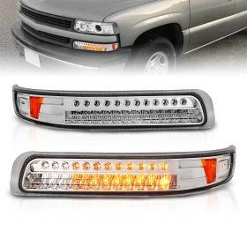 AmeriLite Chrome FULL LED Turn Signal Parking Lights Set For 99-02 Chevy Silverado / 00/06 Suburban Tahoe - Passenger and Driver Side
