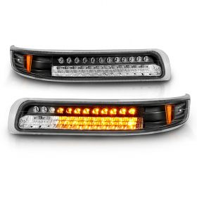 AmeriLite Black Replacement Parking Turn Signal Lights Set For Chevy Silverado Suburban Tahoe - Passenger and Driver Side