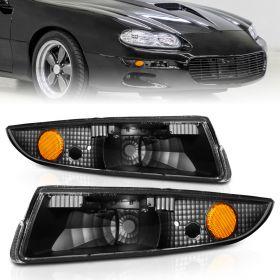 AmeriLite Bumper Lights Euro Black Amber For Chevy Camaro - Passenger and Driver Side