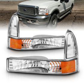 AmeriLite Front Bumper Parking Turn Signal Lights Set For Ford Excursion / Super Duty - Passenger and Driver Side