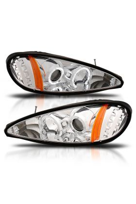 PONTIAC GRAND AM 99-05 PROJECTOR H.L HALO WITH LED CHROME CLEAR AMBER