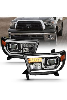 TOYOTA TUNDRA07-13 / SEQUOIA 08-16 H.L PROJECTOR LIGHT BAR H.L BLACK AMBER(LED HIGH BEAN)(BULB VERSION)