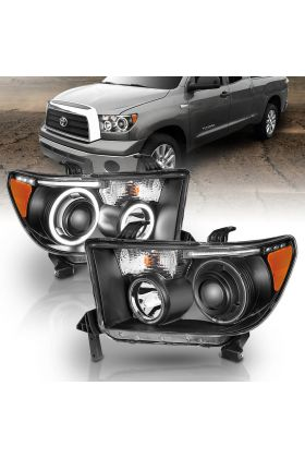 TOYOTA TUNDRA 07-13, SEQUOIA 08-18 PROJECTOR H.L HALO W/ LED BAR BLACK CLEAR AMBER(CCFL)