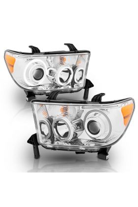 TOYOTA TUNDRA 07-13, SEQUOIA 08-18 PROJECTOR H.L HALO W/ LED BAR CHROME CLEAR AMBER(CCFL)