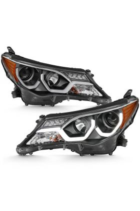 TOYOTA RAV-4 2013 UP PROJECTOR PLANK STYLE H.L BLACK CLEAR AMBER