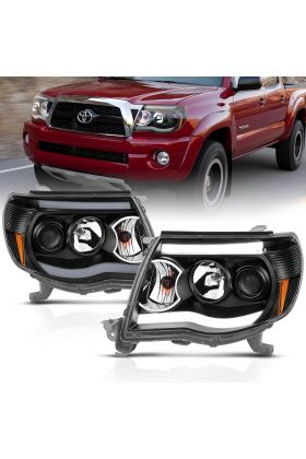 TOYOTA TACOMA 05-09 PROJECTOR H.L PLANK STYLE H.L. BLACK CLEAR AMBER