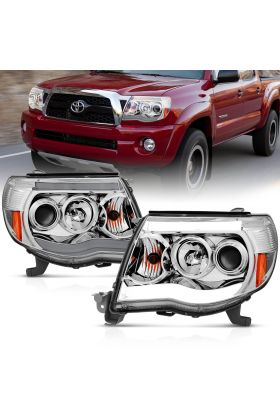 TOYOTA TACOMA 05-09 PROJECTOR H.L PLANK STYLE H.L. CHROME CLEAR AMBER