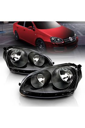 VOLKSWAGEN US RABBIT 06-09 / JETTA 05-10 / CANADA GTi 06-09 BLACK HEADLIGHT (HALOGEN ONLY)