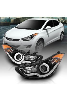 [LED Halo] For 2011 2012 2013 Hyundai Elantra Projector Black Headlights Pair