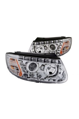 For 2007-2012 Hyundai Santa Fe Chrome Projector Headlights+6LED DRL