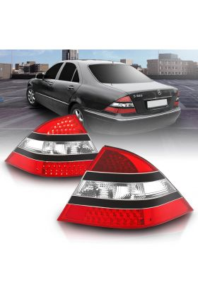 MBZ S CLASS W220 S320 S350 00-05 LED T.L RED/CLEAR(MID-BLACK)