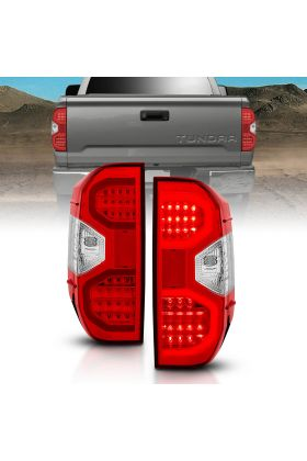 For 2014-2018 Toyota Tundra Red Clear Lens LED Taillights Pairs